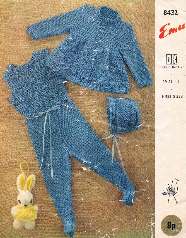 Cat Coat Knitting Pattern : Vintage knitting pattern pdf s emu jacket bonnet and cat