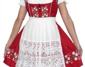 3-Piece Short Red German Dirndl Dress 2 4 6 8 10 16 18 20 22 S M L XL 2XL