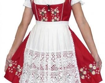 3-Piece Short Red German Dirndl Dress 0 2 4 6 8 10 12 14 16 18 20 S M L XL 2XL