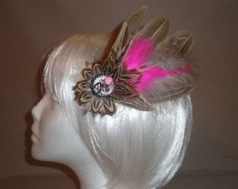 Pink and Brown Feather Hair Piece