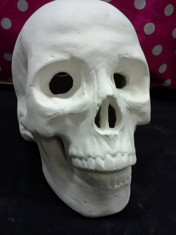 DIY, Ready to Paint, Ceramic, Large Skull Head, Life Like ...