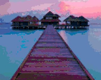 Sunset at Maldives Cross Stitch Chart