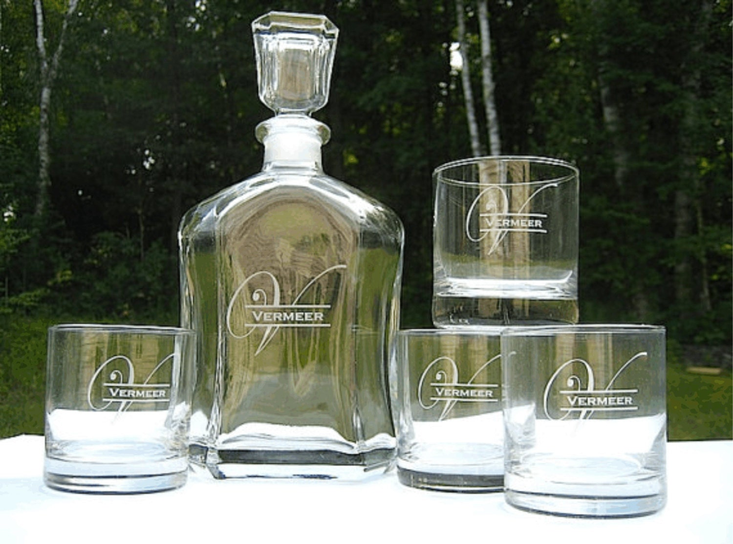 whiskey decanter with two rocks glasses personalized. Black Bedroom Furniture Sets. Home Design Ideas