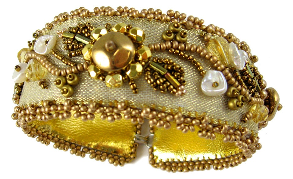 Goldrush bead embroidery bracelet instant download pattern