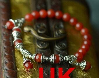 Tibetan Silver 6mm Red Agate Beads Buddhist Prayer Mala / Bracelet
