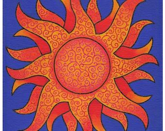 Yellow Sun, Blue Background