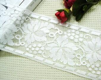 "White France Grape Lace Trim Embroidery Flower Bridal Wedding Fabric Headband Fabric 63.54"" width 1 yard"