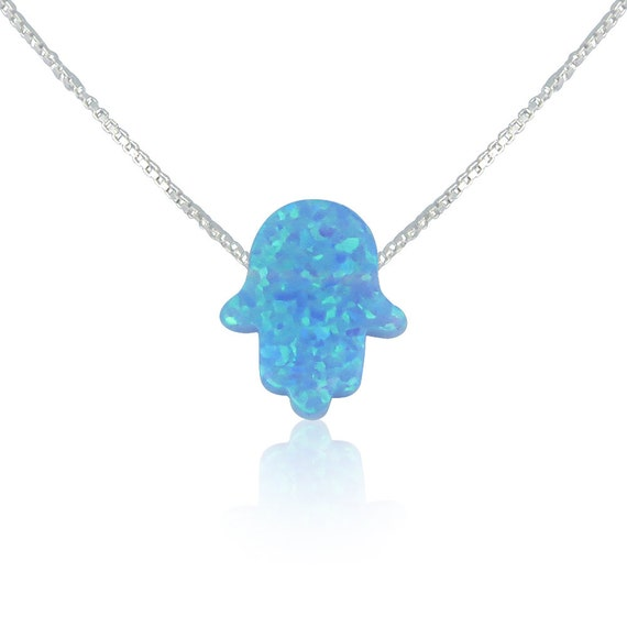 Blue Opal Hamsa Necklace • Best Seller Opal Hamsa Necklace on Etsy • 2 Chain Styles • 6 Lengths • The Opal Hamsa Necklace is Safe to Get Wet