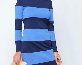Dark Blue  Dress Jersey Autumn Dress Long Sleeve Women's Dress Occasion dress Stripe dress Blue knee dress