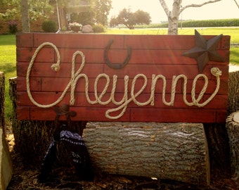 """CHEYENNE 42"""" Country Western Rope Name Sign Shabby Chic  - Distressed RED- (004)"""