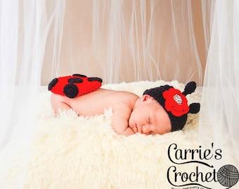 Crochet Newborn Ladybug Set
