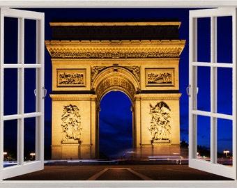 Paris wall sticker window Arc de Triomphe, Paris wall decal for home decor, colorful France wall art for nursery kids home decoration [004]