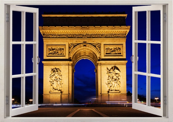 Paris wall sticker window arc de triomphe paris wall decal for Arc de triomphe wall mural