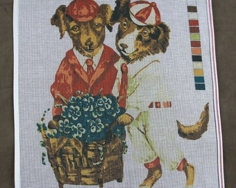 """21"""" Beautiful Brother Dogs Needlepoint Canvas"""
