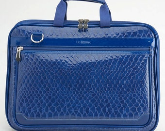 Crocodile 11.6 Inch-12 Inch Laptop Bag /Laptop Detachable Shoulder Bag/Leather Laptop Bag - Navy Blue