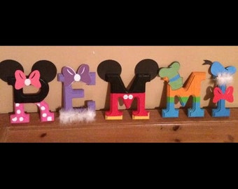 Custom Wooden Disney Character Inspired Name Letters Mickey Mouse Inspired Clubhouse Mickey Minnie Donald Goofy Pluto Daisy Handprinted