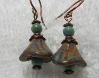 earthtone bellflower earrings