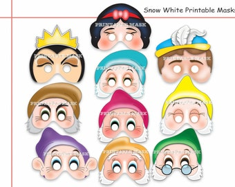 Unique Snow White And The Seven Dwarves Printable Masks, party mask, birthday, sleeping beauty, costume, props, kids mask, party favors