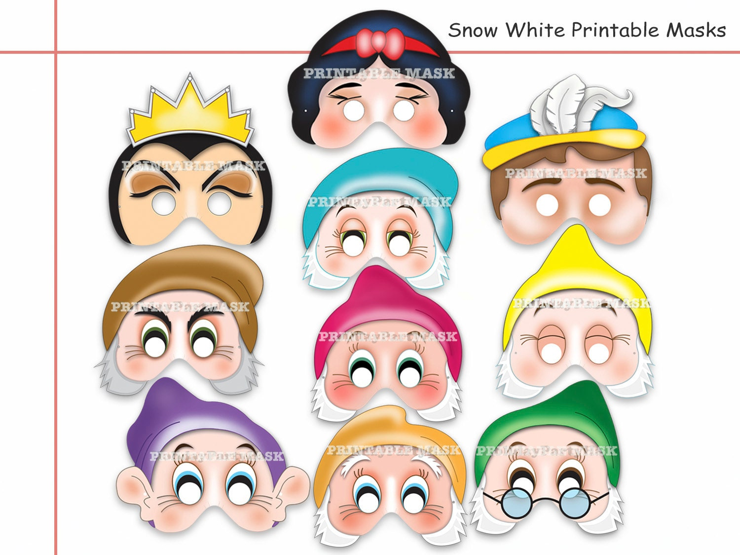 Unique Snow White And The Seven Dwarves Printable Masks party
