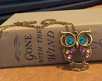 Blue Eyes Owl Charm Chain Necklace