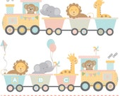Train baby animals pink yellow blue and green printable digital clipart set