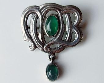 Victorian Silver Murrle Bennett & co Chrysoprase Antique Brooch Pin