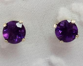 Sterling Silver 5mm Round Amethyst Earrings