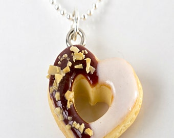 heart donut necklace- miniature food jewelry