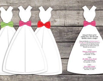 Wedding Dress Shopping Invitations SET OF 10