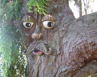 Tree Face,  garden ornament, sculptures, statues, tree decorations, funny faces on trees, handmade gifts for garden lovers, yard art.