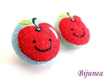 Apple earrings studs - Fruit apple posts - Apple studs - Apple fruit earrings - Fruit jewelry - Earrings apple sf474