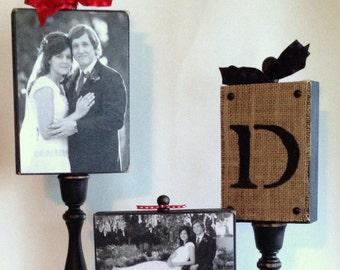 Custom made 3 wood photo block display on candlesticks!