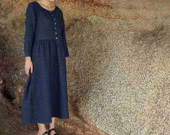 Special weave flax linnen dress long autumn dress loose casual long sleeve clothing in blue