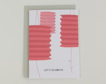 Let's celebrate - paper lanterns peach illustrated greeting card