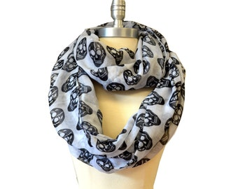 White With Black Skull X-Large Infinity Scarf Loop Cowl