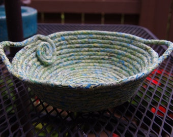 SALE!! - Bluebells in Spring Medium Round  Coiled Basket - One of a Kind!!