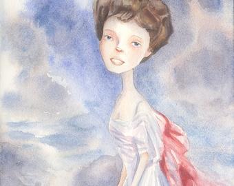 Watercolor, original watercolor, watercolor painting, Handmade painting, Original Art, Original Illustration, Wall Art, Home Decor, Lady