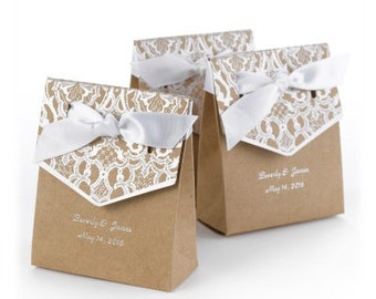 Kraft Paper Tent Wedding Favor Boxes Personalized