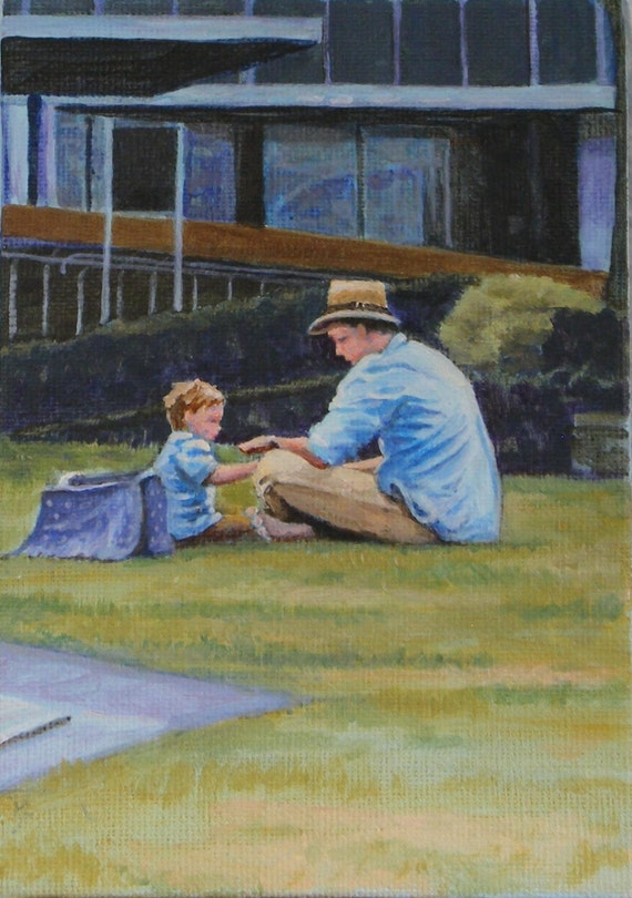 Lunch with Daddy, Original Painting in Acrylic