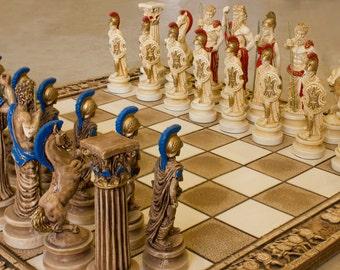 Ceramic Handmade Chess Set Greek Gods of Olympus (Big)