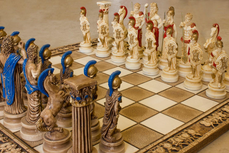 Ceramic handmade chess set greek gods of olympus big - Ceramic chess sets for sale ...