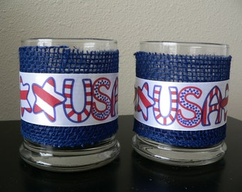 Patriotic votive candle holder