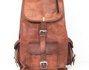 Retro Looking Handmade Smart Leather Backpack, College Bag, School Bag, Office Bag, Laptop Bag