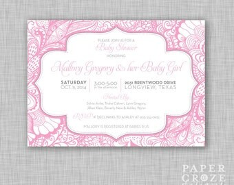"""Pink Whimsy Baby Shower Invitation - Girl 5"""" x 7"""""""
