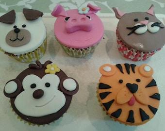 Handmade Animal fondant cake toppers - 6