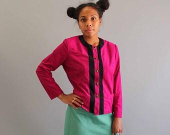 magenta ultrasuede blazer . working girl jacket . womens vintage clothing FAKE SUEDE
