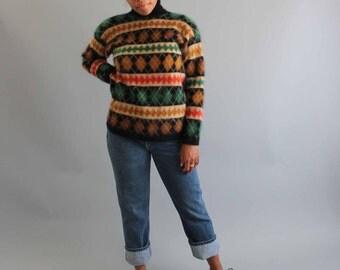 SALE sweater angora & lambswool sweater . plaid turtleneck sweater . soft fuzzy sweater . womens sweater medium large