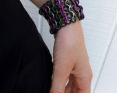 Pinion Cuff - Choice of Colors - Wide Unisex Aluminum & Rubber Bracelet - Chainmail Bracelet Chainmail Jewelry Punk Jewelry Stretch Bracelet