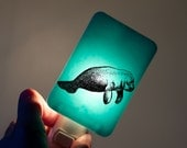 Manatee Nightlight - Aqua Blue Fused Glass Night Light - Gift for Baby Shower or Nature Lover - Sea Life Summer Dreaming