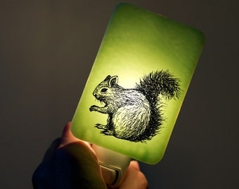 Squirrel Nightlight on Mint Green Fused Glass - Night Light by Happy Owl Glass - Pastel Colors - Spring Wildlife Animal